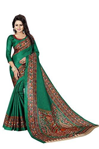 Active Women's Khadi Silk Printed Saree (Kalamkaari Print_Green Color)
