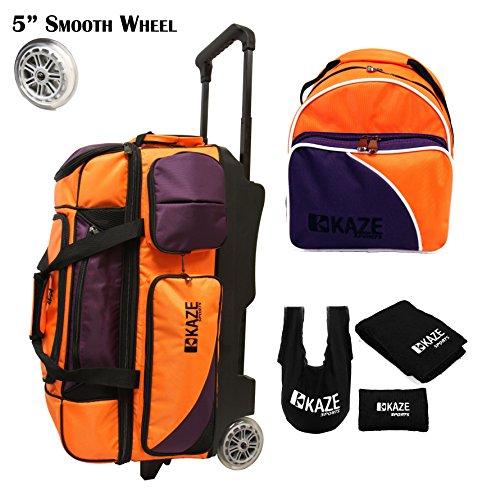 KAZE SPORTS 3Ball Bowling-Walze mit Farbe mit Hinzufügen auf Ersatz Tote und Zubehör Pack, Orange