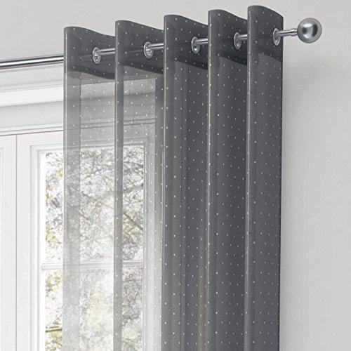 Chicago Metallic Print Voile Vorhang, Ready Made Öse Panel, Ring Top Vorhänge, Gardinen, Metall Sparkle Dot Detail, Panels, grau silber, Polyester, grau, 145 x 137 cm (Ein Panel-grau-vorhänge)
