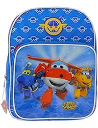 Super Wings - Sac à dos bleu Super Wings pour la maternelle avec poche avant