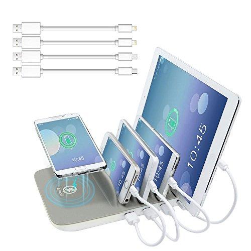 sal Ladestation Ladedock,Dockingstation, AYEPOW QI Wireless-Ladegerät 4 USB Ports & 4 kabel 2.4A Universal Fast Charger für iPhone 6 /6s / 7 / 7s / 8/ X / iPad / Samsung / Huawei/ Smartphones (Grau) (über Den Hügel Dekorationen)
