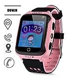 DUWIN -Telefon Uhr Haben Abhörfunktion, für Kinder, SOS Notruf+Telefonfunktion, Live, Funktioniert weltweit, Anleitung + App Support auf Deutsch, Pink