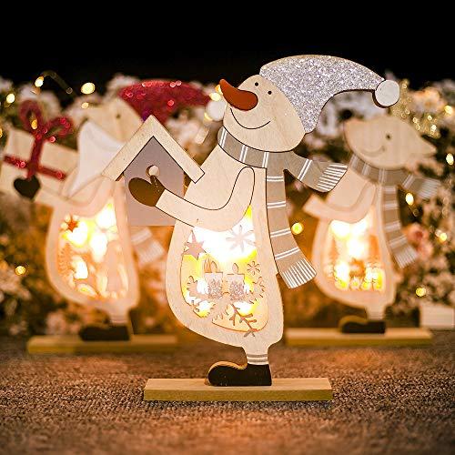 vijTIAN - Lampada in Legno a Forma di Babbo Natale o Pupazzo di Neve, Decorazione da Tavolo per la casa, per Feste di Natale, per Creare un'atmosfera Natalizia Forte per la Fam