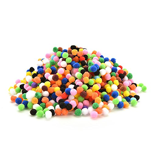 Buytra 1000pcs Assorted Mixed Color Soft Fluffy Pom Poms Pompoms