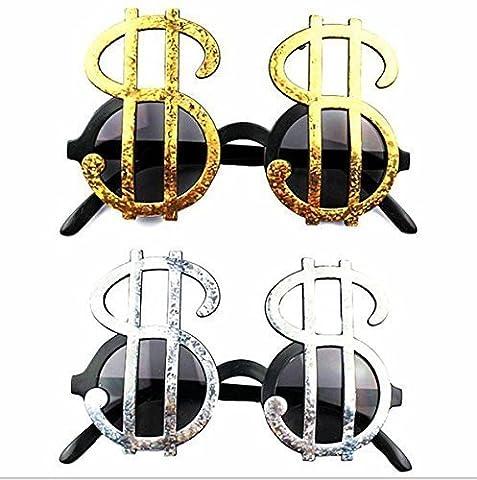 URChic 4 Paar Creative Gold & Silber glänzend Dollar Zeichen Kostüm Gläser Geld Party Gefälligkeiten Foto Booth Eyewear Props Event Festliche Party Supplies Dekoration