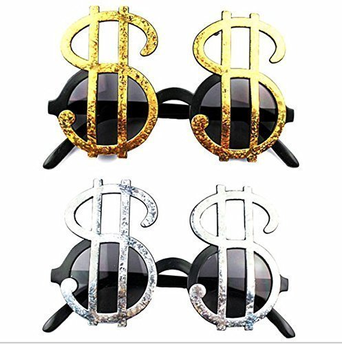 Kostüm Party Zeichen - URGrace 4 Paar Creative Gold & Silber glänzend Dollar Zeichen Kostüm Gläser Geld Party Gefälligkeiten Foto Booth Eyewear Props Event Festliche Party Supplies Dekoration