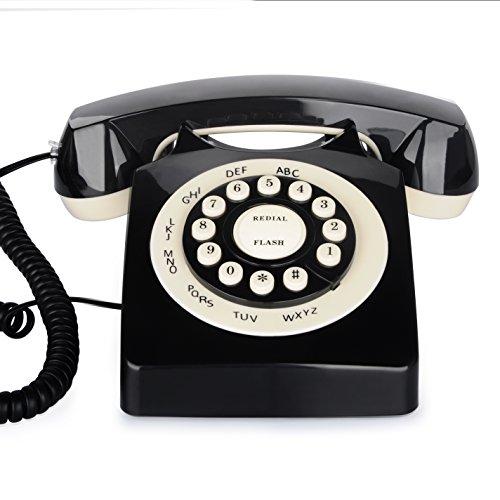 Retro Telefon Europäische, Bnest klassische Schnurgebundenes Telefon-,Nostalgietelefon mit stilvollen Retro-Design für Schlafzimmer, Wohnzimmer, Studie, Büro, Herrenhaus (Schwarz)