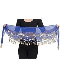 Belly Dance Bauchtanz Hüfttuch Kostüm 128 goldfarbenen Münzen Münzgürtel Fasching Karneval Tanzaufführung Gürtel in dunkelblau / Marke PRECORN