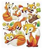 Stickerkoenig Wandtattoo 3D Sticker Wandsticker - niedliche Füchse Waldtiere Fuchs #547 Kinderzimmer Deko auch für Wände, Fenster, Schränke, Türen etc auf Bogen