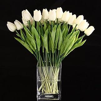 TOOGOO(R) 20pcs La Flor Del Tulipan Del Tacto Real Del Latex De La Mejor Calidad KC454 Para La Decoracion De La Boda Blanco