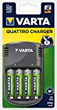 VARTA Quattro Charger - Cargador de pilas AA/AAA (incluye 4 pilas AA de 2100 mAh)