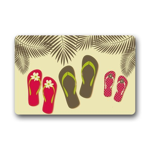 fringcoook DailyLifeDepot Machine Clean Top Fabric & Non-Slip Rubber Backing Durable Indoor/Outdoor Doormat Door Mats - Colorful Flip Flops Summer Beach Palm Tree Series