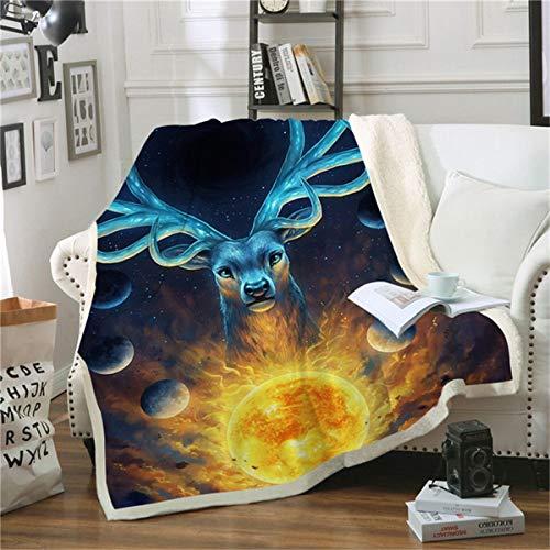 HAOTTP Kuscheldecke Ist Super Weich Celestial Space Deer Ted Bettwäsche Outle Velve Plüsch Werfen Textil TagesKuscheldecke Sherpa Couch Quilt 130X150Cm -