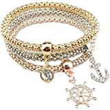 3 PCS JUNGEN Simples damas elegantes pulseras de cadena de maíz creativa pulseras de plata joyas elegantes para niñas (Ancla, barco, timón)