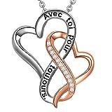 LOVORDS Collier Femme Gravé en Argent 925/1000 Pendentif Double Cœurs Entrelacés Cadeau Amoureux Romantique pour Elle