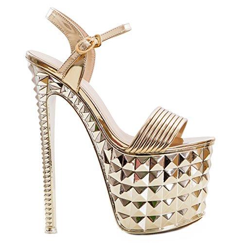 Toocool - Scarpe donna sandali lucidi tacchi alti plateau tacco 20 sexy nuove 52306 Oro