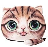 Flauschiger Geldbeutel (Geldbörse/Münzbörse) für junge Frauen & Mädchen / Damenportemonnaie mit süßem Katzenmotiv (Animal Print) inkl. Katzenohren und Schwänzchen (Reißverschluss) (Braun)
