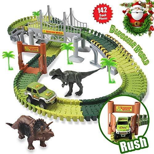 Kit Giocattolo Dinosauro Giurassico Mondiale e 142 Piste Flessibili Contiene 2 Dinosauri,1 Veicolo Militare,4 Alberi,2 Slope Pedenti,1 Doppia Porta e 1 Ponte