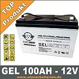 GEL Batterie 100Ah Akku Wohnmobil Versorgungsbatterie Bootsbatterie Mover Solar Antriebs Batterie Extrem Zyklenfest