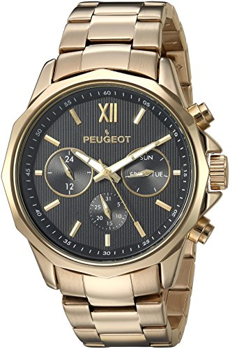 Peugeot Men's Analog Quartz Watch with Stainless-Steel Strap 1046G