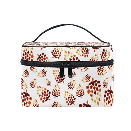 COOSUN Kiefern-Kegel-Muster Cosmetic Bag Canvas Travel Kulturbeutel Top Single Layer Make-up-Beutel-Organisator Griff Multifunktions-kosmetischer Fall für Groß Mehrfarbig -