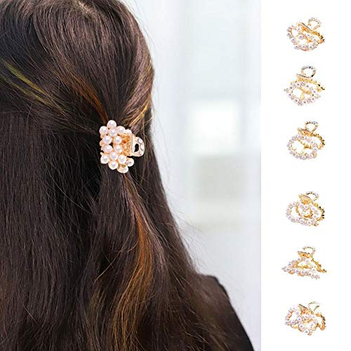 Women Pearl Hair Claw Clips, Cute Stylish Jaw Clips Non Slip Hair Clip Clamps Styling Accessories Box Packaged for Women Girls, 8 Pieces -