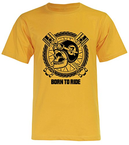 PALLAS Unisex's Motorcycle Club Vintage Born to Ride T Shirt Yellow
