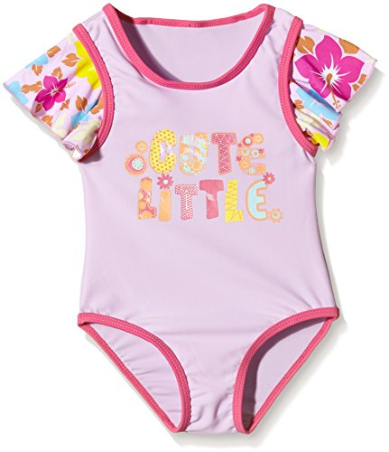 "Aquatinto Baby - Mädchen Badeanzug ""Cute Little"", UV +50, Gr. 62 (Herstellergröße: 62/68), Mehrfarbig (lila/pink)"