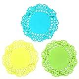 YOKIRIN PVC Untersetzer aus Filz für Tisch und Bar als Glasuntersetzer/Getränkeuntersetzer für Glas und Gläser Tischsets Blau+Grün+Gelb(Durchmesser:9cm)