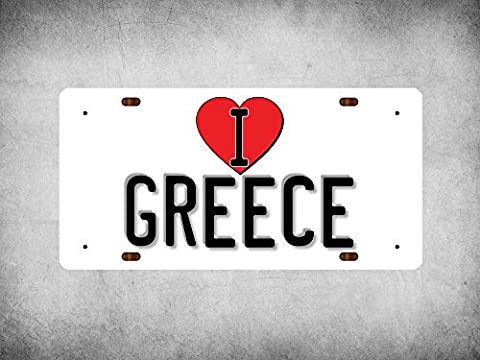 WP_ILC_213 I Love (Heart) GREECE (white background design) - Metal Wall Plate
