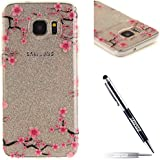 JAWSEU Coque pour Samsung Galaxy S7 Edge,Samsung Galaxy S7 Edge Silicone Coque Transparent Etui Housse,Samsung Galaxy S7 Edge Soft Cover Ultra Slim,2017 Neuf Design Beautiful Elegant Vintage Motif Premium Homme Femme Fille Boy TPU Clear Protective Case Cover Ultra Mince en Silicone Gel Bumper Coque Etui de Protection Transparent Flexible Souple en Caoutchouc Cristal Clair Anti-rayures Anti poussière Coque Housse Etui+1*Noir Stylo Paillettes-Rose Fleur 2