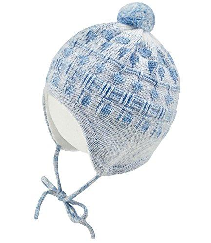 Maximo Babybindemütze Jungenmütze Bindemütze Pudelmütze Bommelmütze Wintermütze Strickmütze zweifarbig Baby (MX-75571-341100-W17-BJ0-0121-43) in Cerulean, Größe 43 inkl. EveryKid-Fashionguide (Cap-schuh-charme)