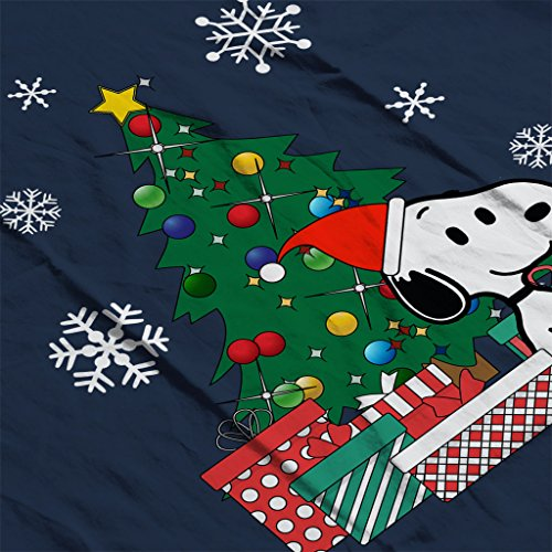 Snoopy And Woodstock Around The Christmas Tree Women's Sweatshirt Navy blue
