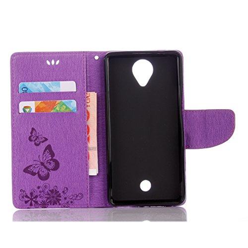 Wiko U Feel Handyhülle Book Case Wiko U Feel Hülle Klapphülle Tasche im Retro Wallet Design mit Praktischer Aufstellfunktion - Etui Lila