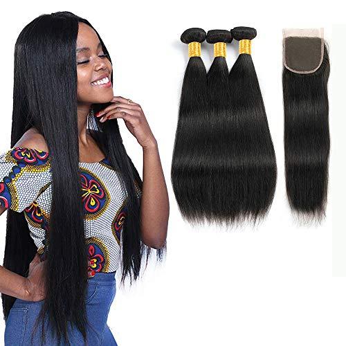 Lvy capelli umani capelli veri brasiliani vergini capelli umani dritti brasiliani con chiusura extension capelli veri tessitura 40 45 50+35 cm