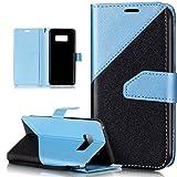 Kompatibel mit Galaxy S8 Hülle Schutzhülle Case,Galaxy S8 Leder Hülle,Schlagfarbe Nähte Spleiß Stil Naht Farben PU Lederhülle Flip Hülle Handyhülle Tasche Wallet Schutzhülle für Galaxy S8,Helles Blau