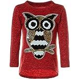 BEZLIT Mädchen Pullover Pulli Wende-Pailletten Sweatshirt Vogel Motiv 21601 Rot Größe 116