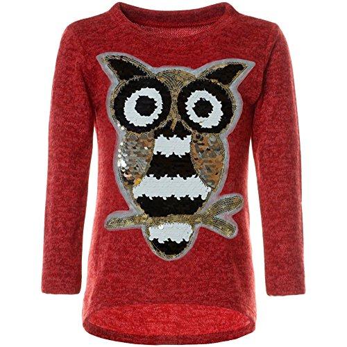 emoji shirt mit wendepailletten BEZLIT Mädchen Pullover Pulli Wende-Pailletten Sweatshirt Vogel Motiv 21601 Rot Größe 116