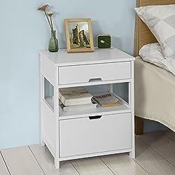 SoBuy® FRG258-W Table de Chevet Bout de Canapé Table d'Appoint avec 2 tiroirs et 1 étagère de rangement - Blanc