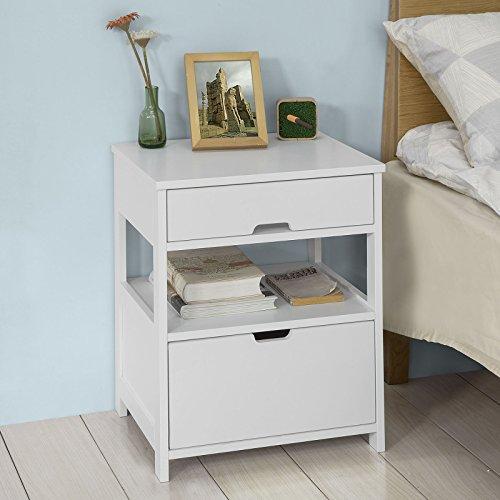 Rechteckige Schublade Beistelltisch (SoBuy® FRG258-W Beistelltisch Nachttisch Nachtschrank mit 2 Schubladen und 2 Ablagen, BHT ca: 45x55x38cm)
