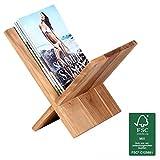 FineBuy Zeitungsständer Massivholz Akazie X-Form 31 cm Zeitschriften-Ständer Design Prospekt-Halter