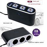 prettygood7Zigarettenanzünder Splitter DC 12V + LED Licht Switch USB 3Weg, Auto Zigarette USB-Schnittstelle (mit Verpackung)