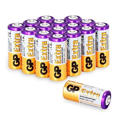 GP Extra Alkaline LR1 Batterien (Typ 910A,Lady, N, E90) Spannung 1,5 Volt (1,5V) (Pack mit 16 Stück)