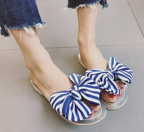 Beauqueen Vacation Beach Flat Shoes Chaussons Sweet Style Stripe Bow-Knot