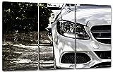Printed Paintings Impression sur Toile 3 pièces(120x80cm): Mercedes Coupe Voiture lumière Droite