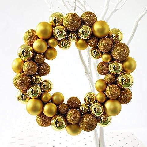 Hoobor House Decoración de Navidad Casa Junco arreglo floral puertas anillo35cm,Gold