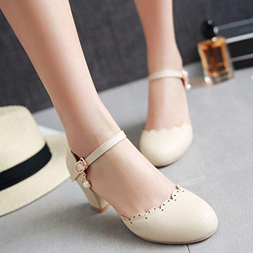 Senhoras Salto Robustos Sapatos Tornozelo Confortáveis Fechado Bombas E bege Bloco Com Saltos Ye Fivela 0Zdnfqw0