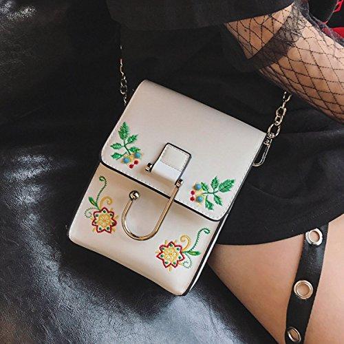 Weibliche Stickerei Blume Kleine Quadratische Tasche Handy Tasche Kette Schulter Messenger Bag Weiß