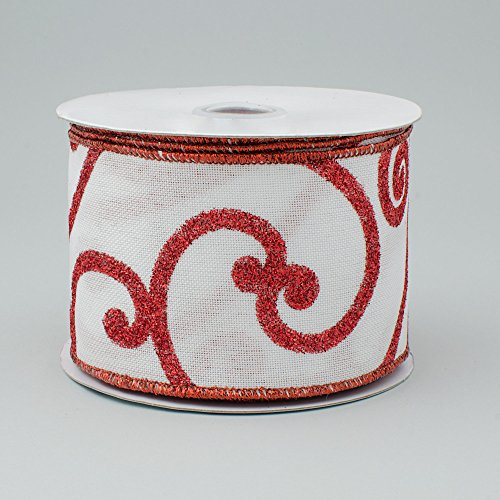 6,3cm breit Bold Scroll Royal Leinwand Band mit Draht weiß & rot (10Meter) Weihnachten, Patriotische, Valentine 's Day
