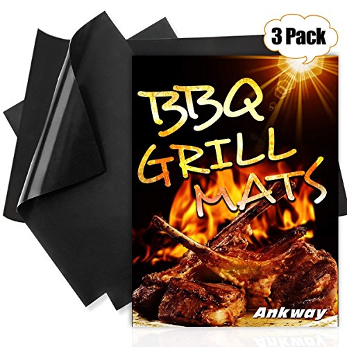 Ankway Grillmatte BBQ Grillmatten 3er Set Teflon Glasfaser Struktur Antihaft Grill Mat für elektrogrill, holzkohle, Gasgrill-Wiederverwendbar und Feuerfest (zwei 16 X 13 inch und einer 20 X 13 inch) (16 X Mat 20)